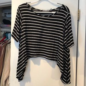 Black stripped Cropped Tee with High low sides